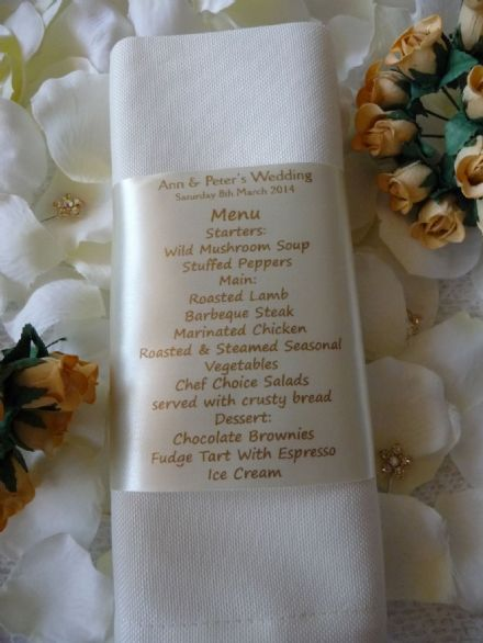 Personalised Wedding Napkin Ribbon with Menu and Place setting for guest